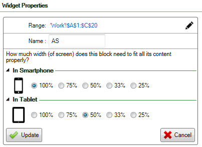Screenshot of a spreadsheet where responsive blocks have been defined