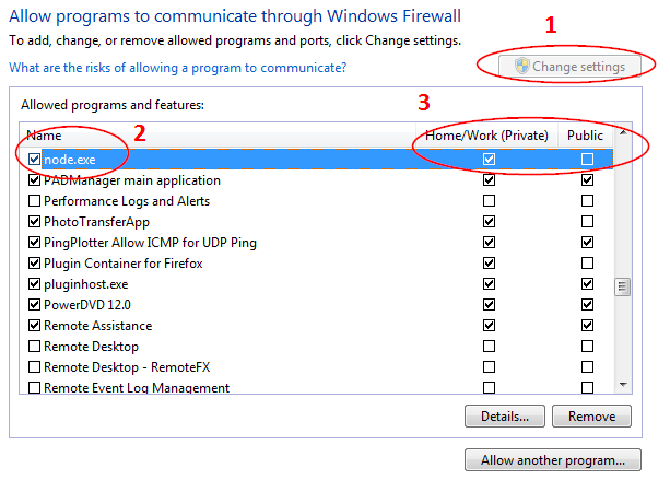 Screenshot of the Windows Firewall settings in Windows 7
