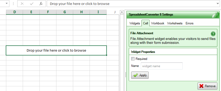 Screenshot of the properties panel for the File Attachment widget