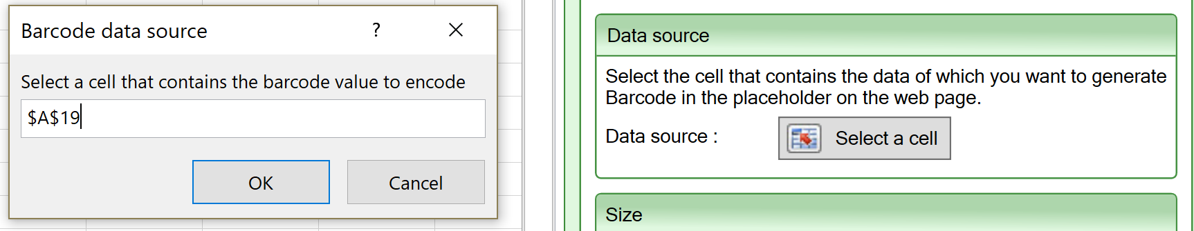 Screenshot of the Data source setting for the Barcode widget