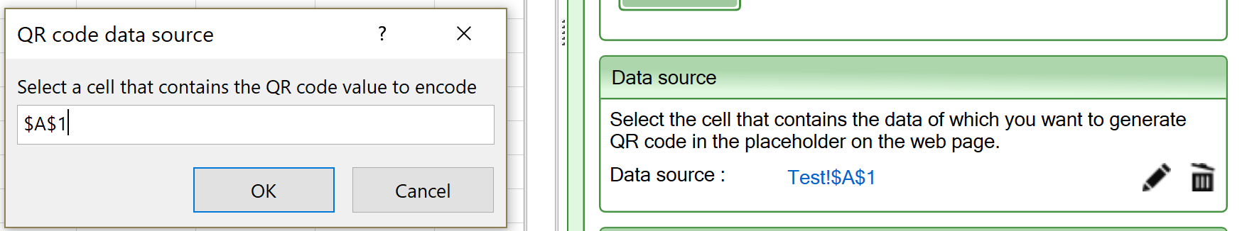 Screenshot of the Data source setting for the QR code widget
