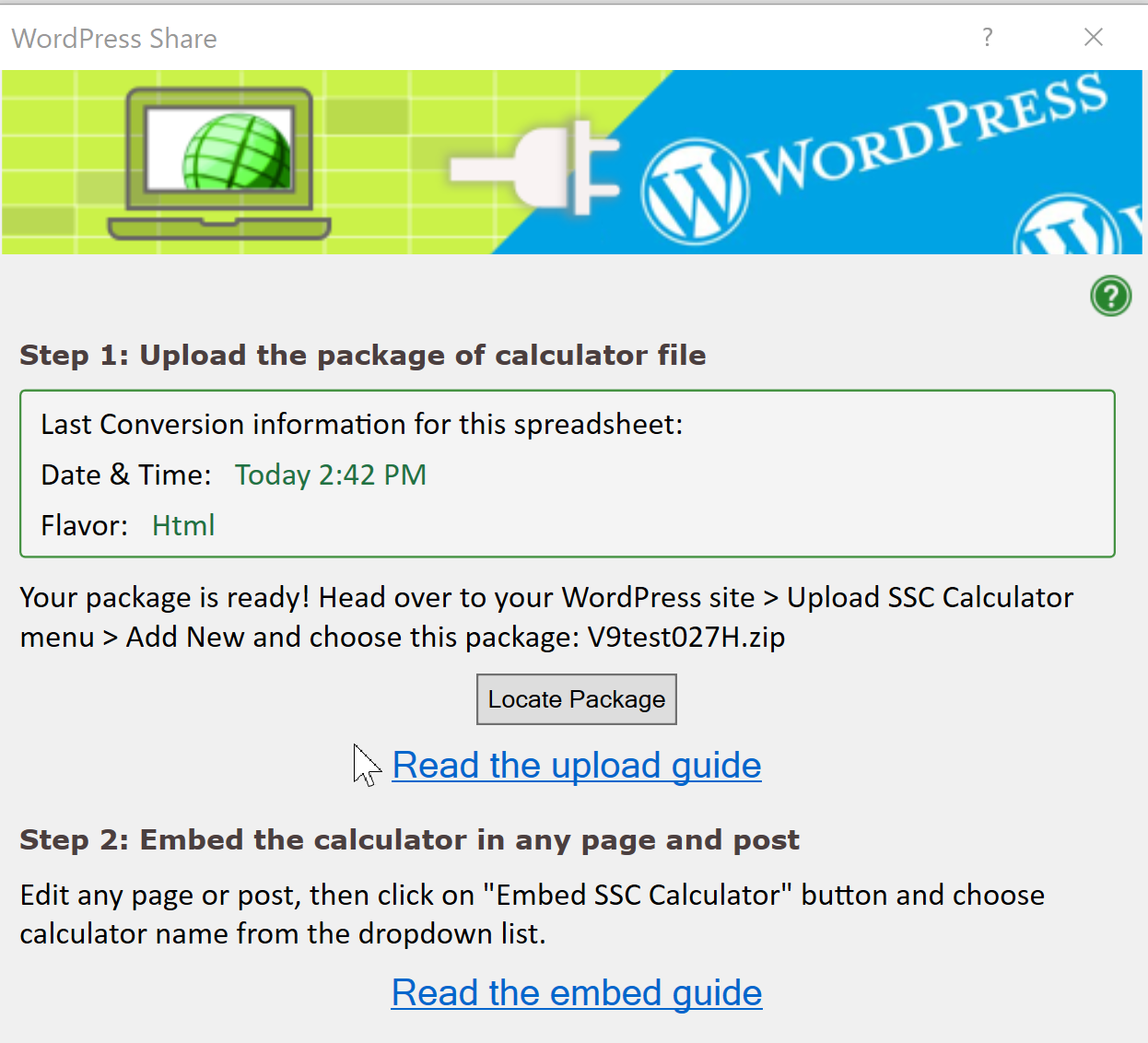 Screenshot of the upload screen for the WordPress plugin