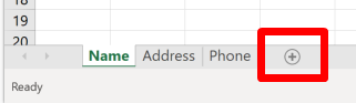 "Screenshot of the ""add worksheet"" button in Excel"