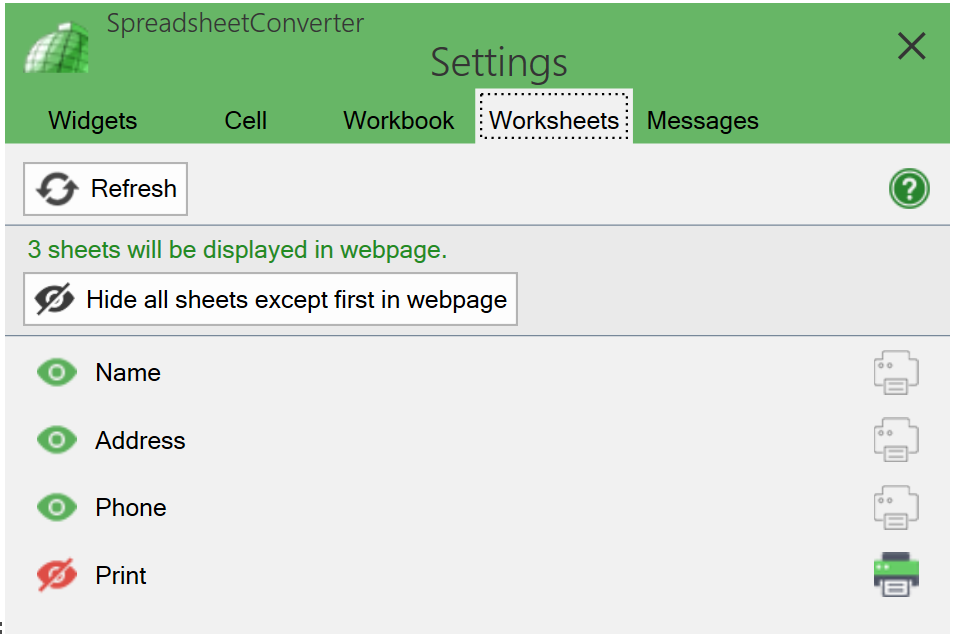 Screenshot of the Worksheets tab with a designated print sheet
