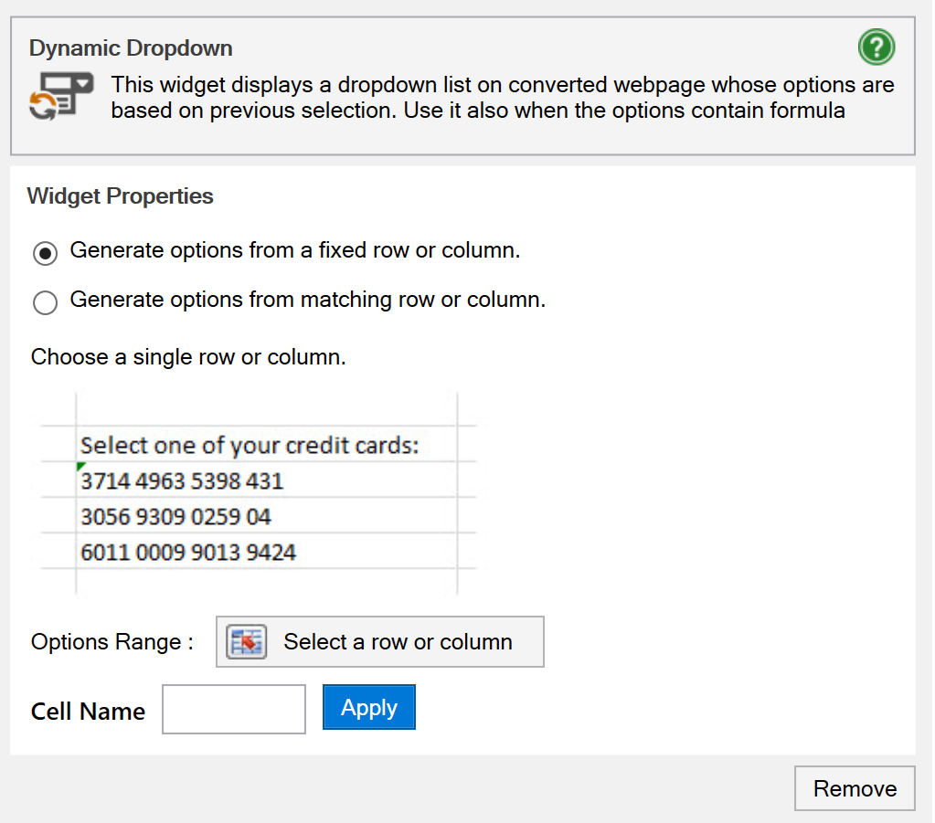 Screenshot of the options range and lookup cell options for a dynamic dropdown menu with fixed rows or columns.