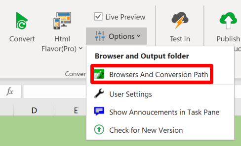 Screenshot of the Options menu in the Convert section of the ribbon