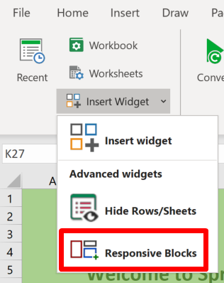 Screenshot of the Responsive Blocks option in the Prepare section of the SpreadsheetConverter ribbon