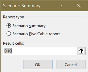 Screenshot of the Scenario Summary prompt asking for the result cell