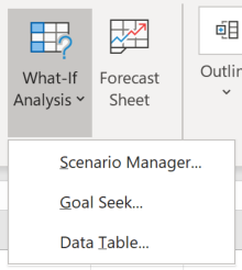 Screenshot of the Data > Forecast section of the Excel ribbon