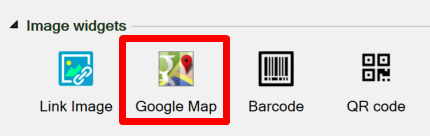 Screenshot of the Google Map widget on the Widgets tab of the task pane